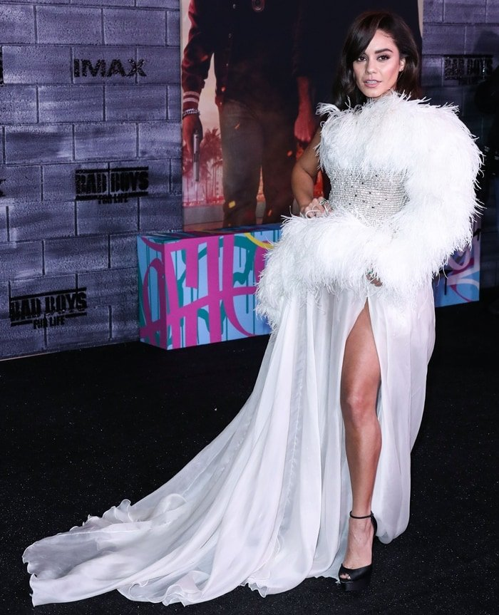 Actress Vanessa Hudgens wearing a Georges Shobeika dress at the Los Angeles Premiere Of Columbia Pictures' 'Bad Boys For Life'