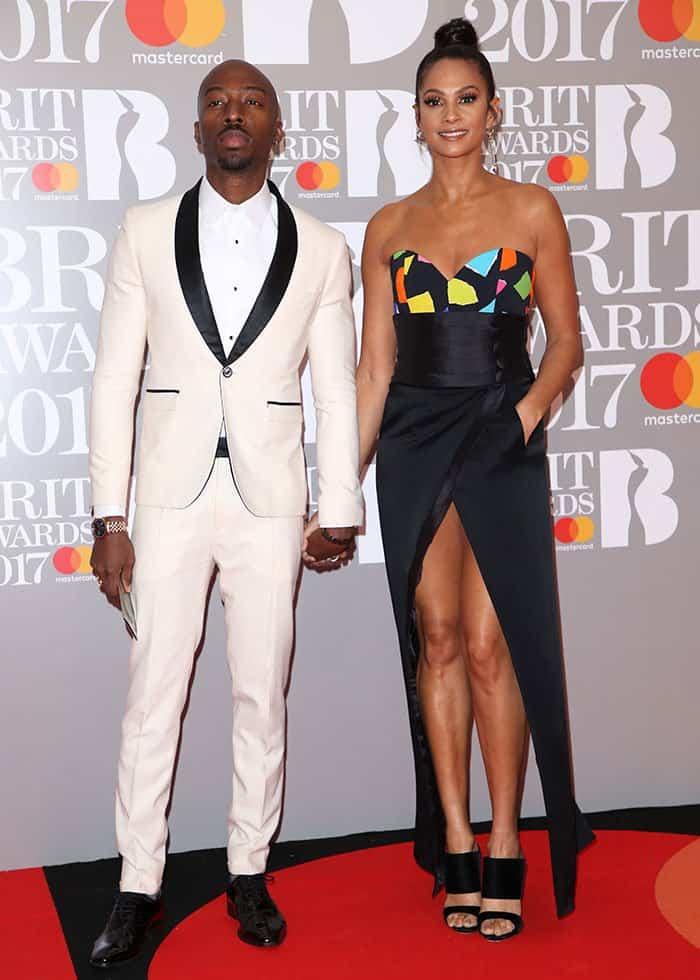 Alesha Dixon with husband Azuka Ononye at the 2017 Brit Awards