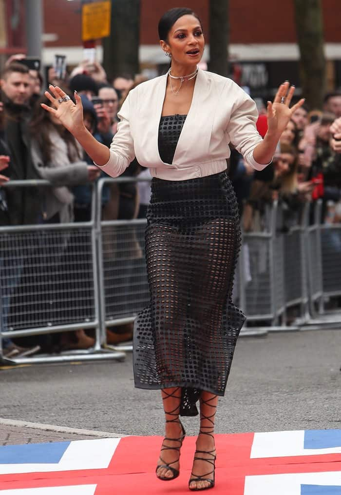 Alesha Dixon in a daring perforated dress by Melbourne-based fashion designer Toni Maticevski