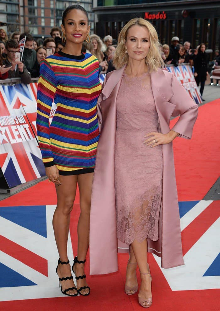 263f9b5b07e Alesha Dixon Wears Chevron-Striped Mini Dress and Scalloped Prada Sandals