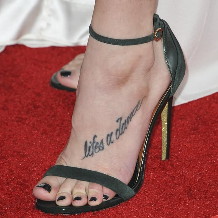 Ashley Greene's foot tattoo and black nail polish