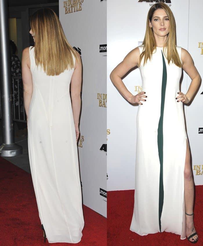 Ashley Greene donned a sleeveless silk floor-length dress