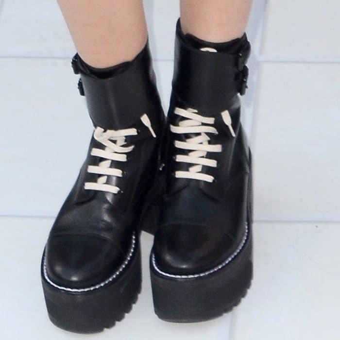 Ashley Tisdale wearing Louis Vuitton 'Fighter' platform half boots