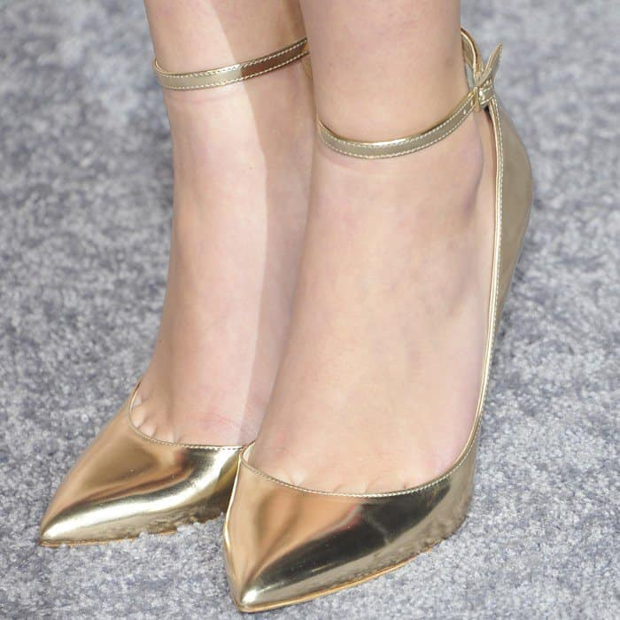 Ava Phillippe's pretty feet in metallic Jimmy Choo 'Lucy' pumps