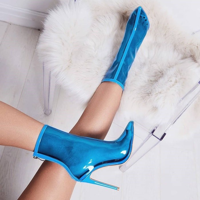 Blue perspex ankle boots
