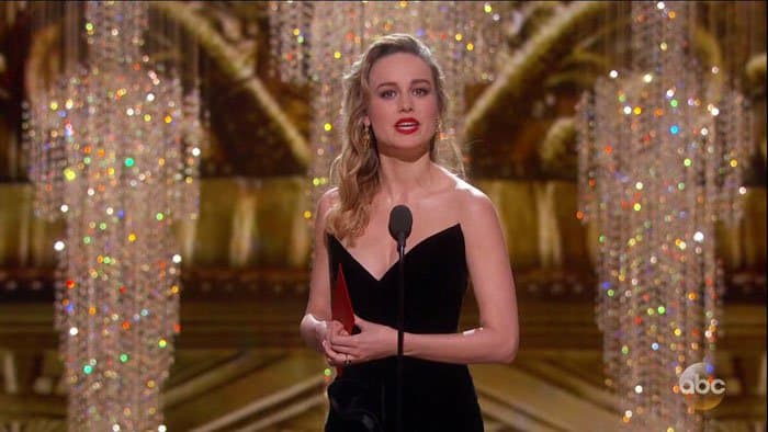 Brie announcing the winner for Best Supporting Actor
