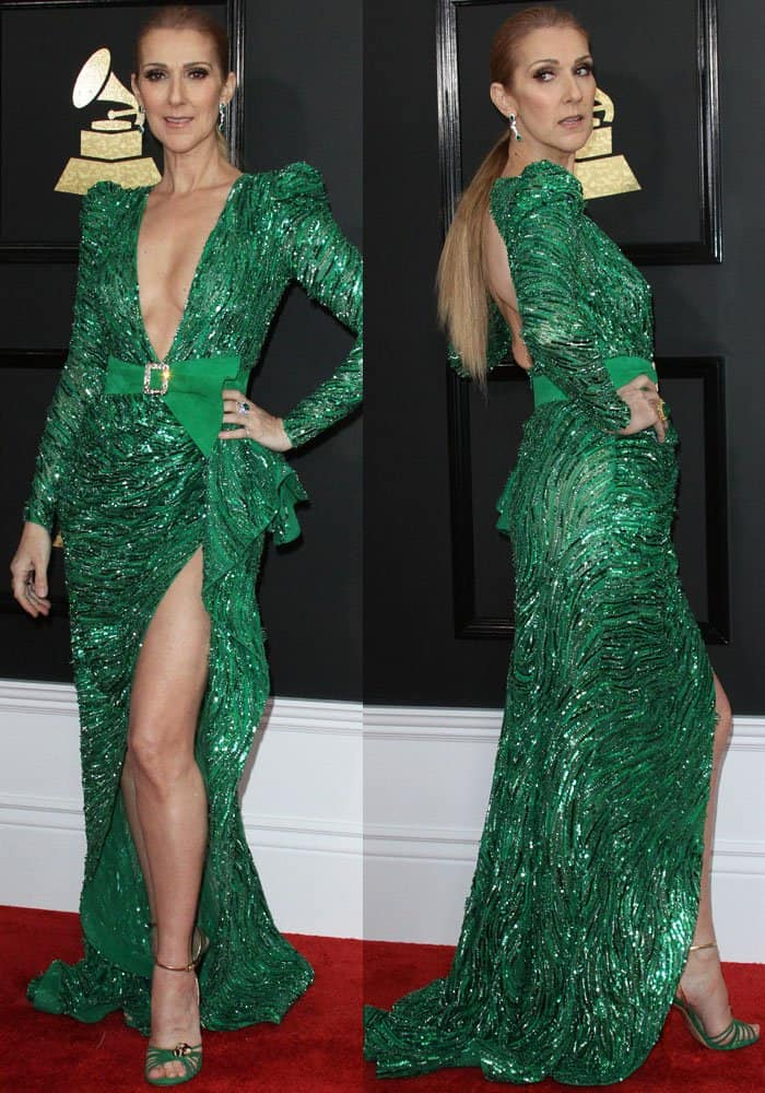 The songstress wowed in an all-green ensemble by Zuhair Murad and Gucci