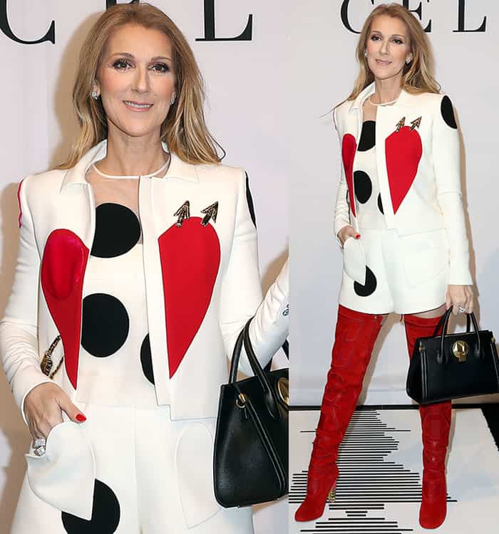 Celine Dion opted for a head-to-toe white-and-red look for the launch