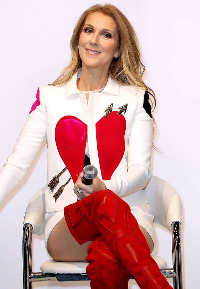 Celine Dion Steals Hearts In Schiaparelli And Red Suede