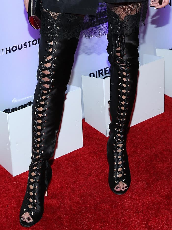 "Gianvito Rossi ""Marie"" lace-up satin thigh-high boots on Chrissy Teigen"