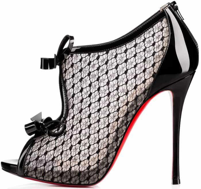 Christian Louboutin 'Empiralta' Lace Bow Peep Toe Sandal Booties