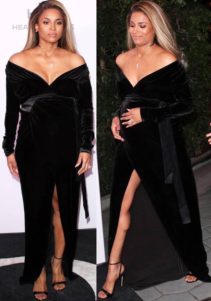 Ciara basks in her pregnancy glow in a velvet dress by Rhea Costa