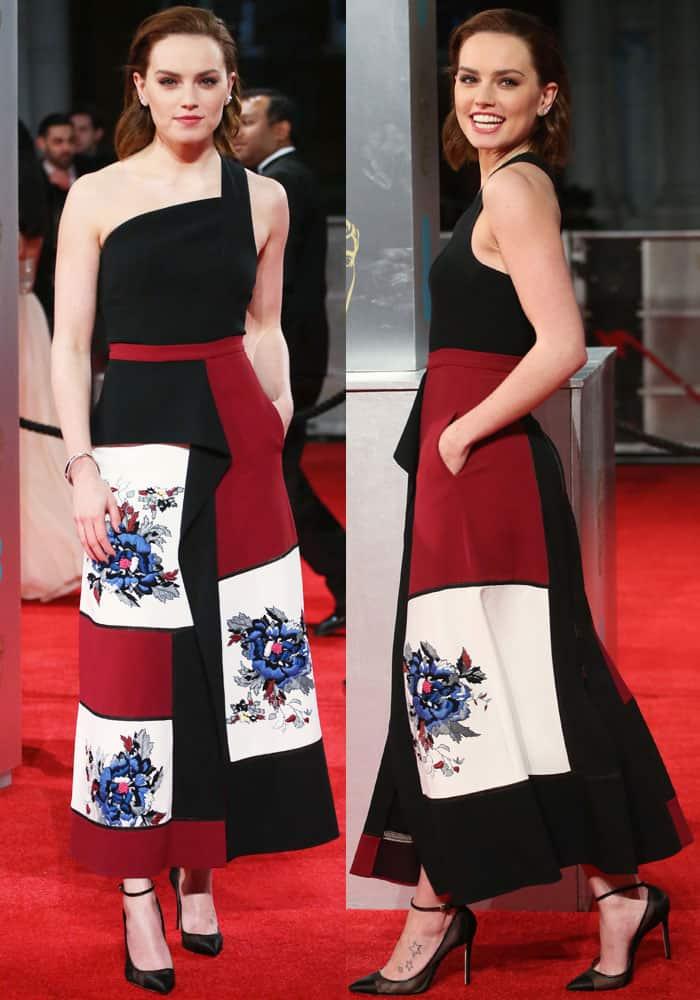 Daisy Ridley rocks a unique one-shoulder dress by Roland Mouret
