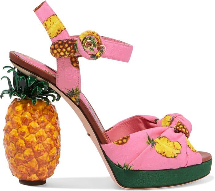 Dolce & Gabbana Knotted Printed Pineapple-Sculpted Sandals