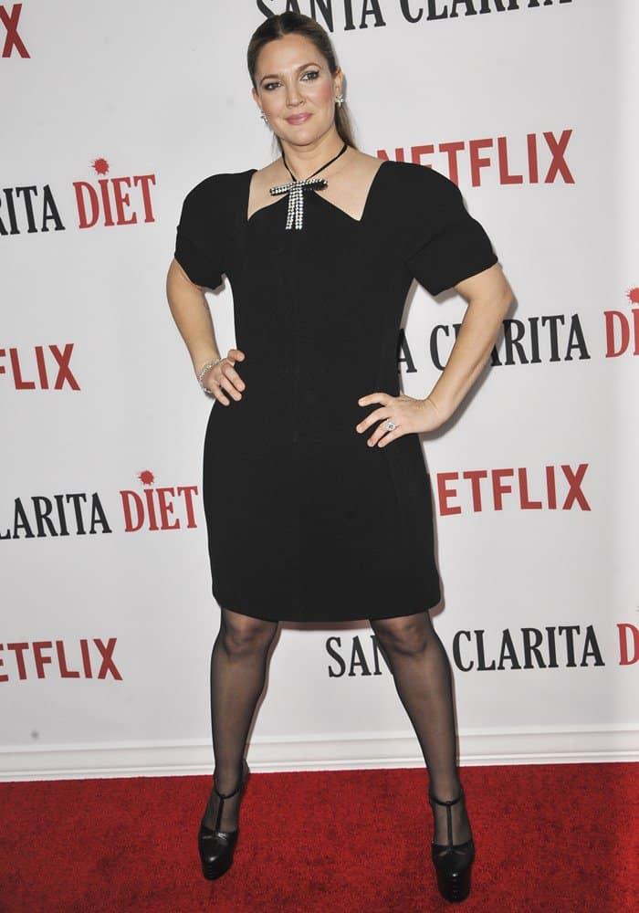 Drew Barrymore Balances In Towering Gucci Angel Platform