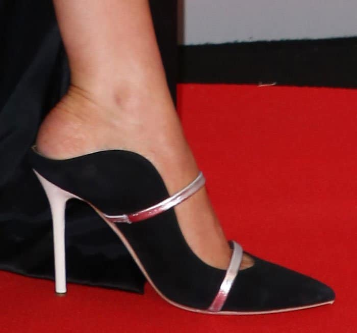 Ellie Goulding in Malone Souliers Maureen mules at the 2017 Brit Awards held at the O2 in London, England on February 22, 2017