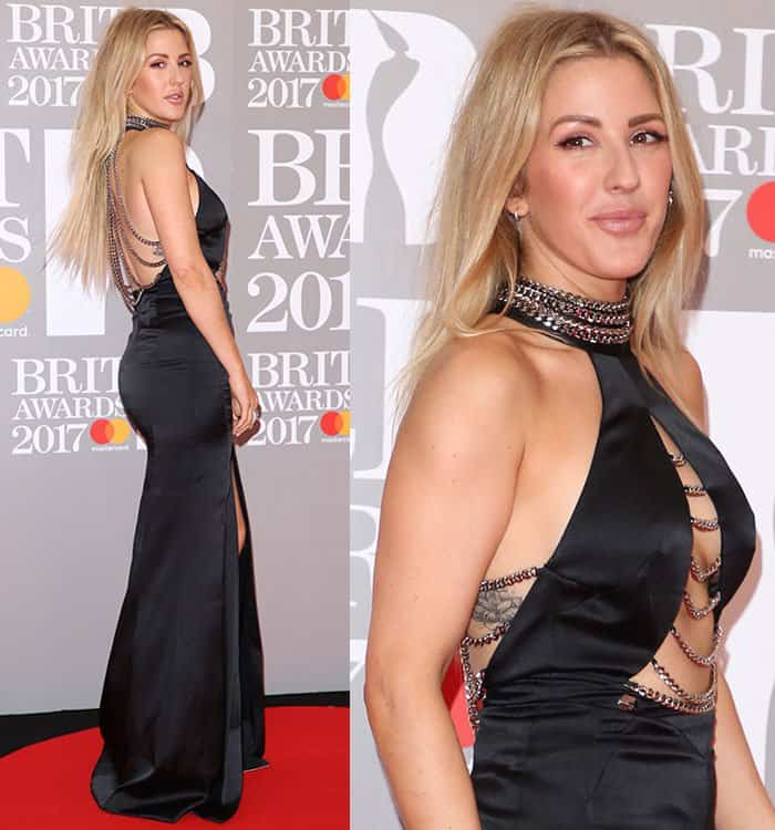 Ellie Goulding broke the fashion rule and put both her legs and cleavage on display