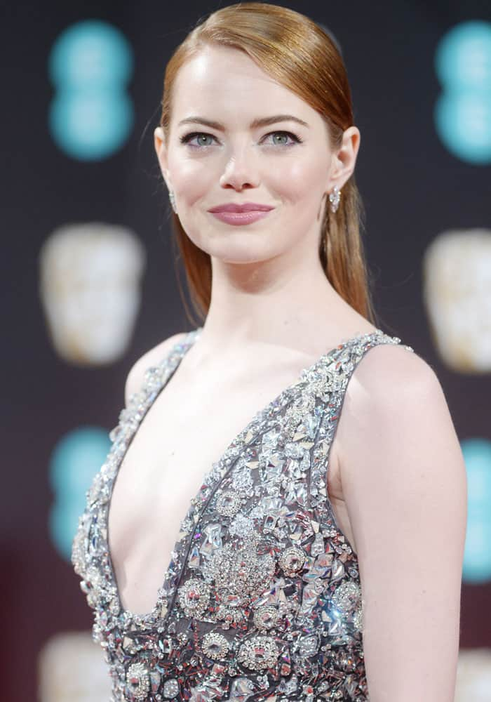Emma Stone attending the 2017 EE British Academy of Film and Television Arts Awards at the Royal Albert Hall, London on February 12, 2017