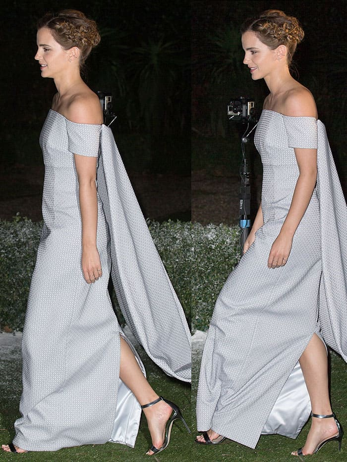 Emma Watson in an Emilia Wickstead gown and Manolo Blanik 'Chaos' sandals