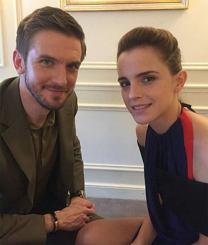"""Dan Stevens and Emma Watson at the """"Beauty and the Beast"""" Paris photo call"""