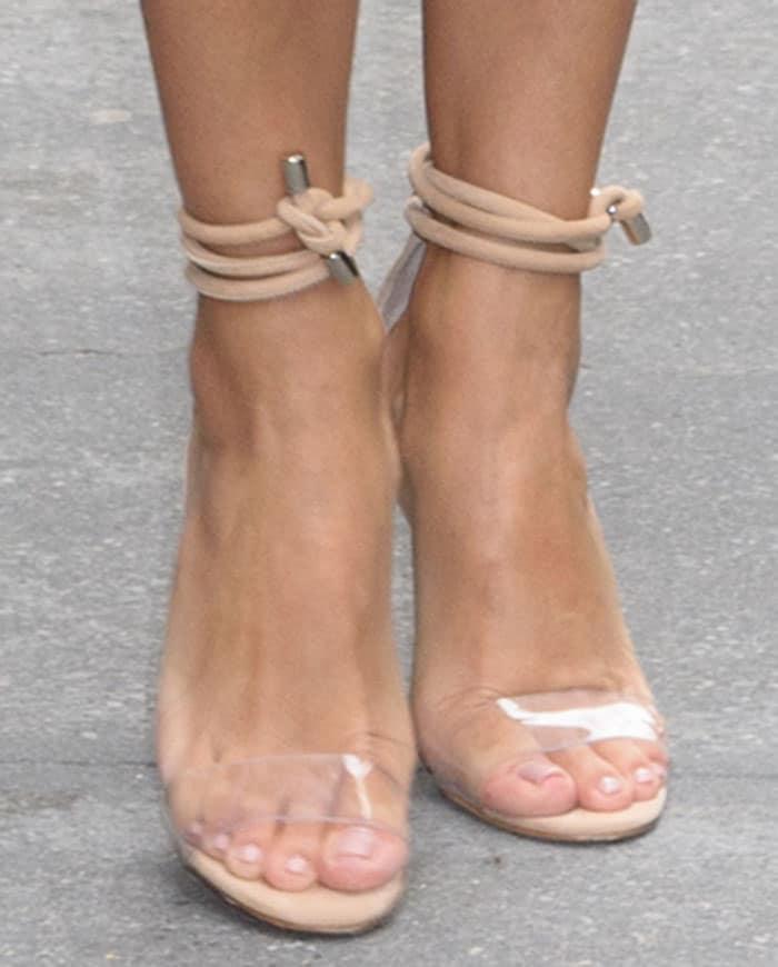 "Eva Longoria wearing Manolo Blahnik ""Estro"" sandals"