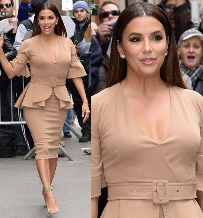 Eva Longoria in a cleavage-baring peplum top and fitted skirt