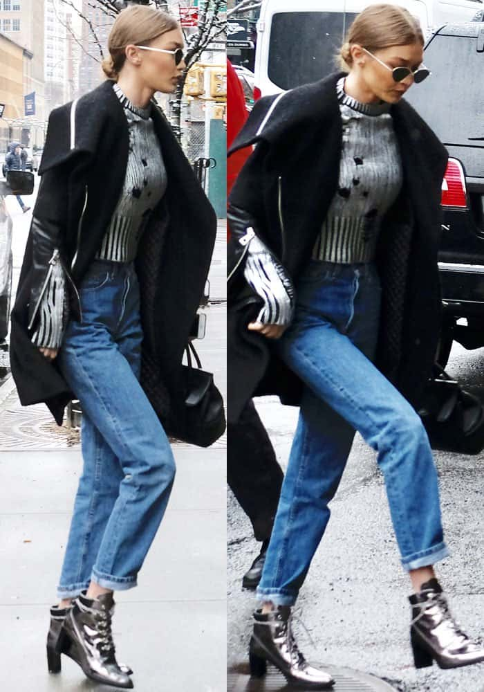 Gigi steps out in a chic casual look for New York lunch with her sister Bella