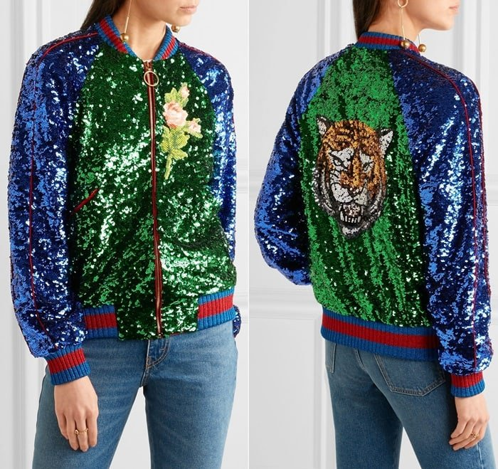 Gucci's jacket is trimmed with the house's signature web striping and saturated with hundreds of light-catching sequins that form a glistening Bengal tiger at the back