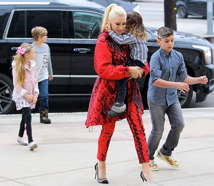 Gwen Stefani taking her family to church in Studio City in Los Angeles