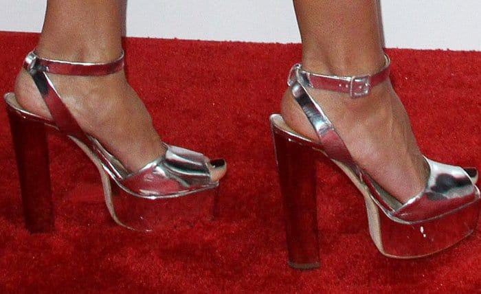 "Heidi towers in the Giuseppe Zanotti ""Lavinia"" platform sandals"