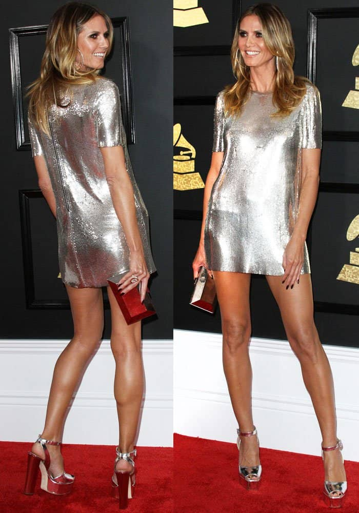 Heidi puts on a leggy display in a Philipp Plein dress