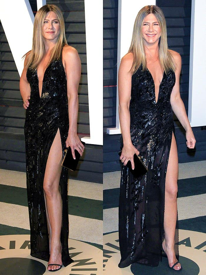 Jennifer Aniston totes a black velvet clutch while flaunting her cleavage, flat abs, toned thighs