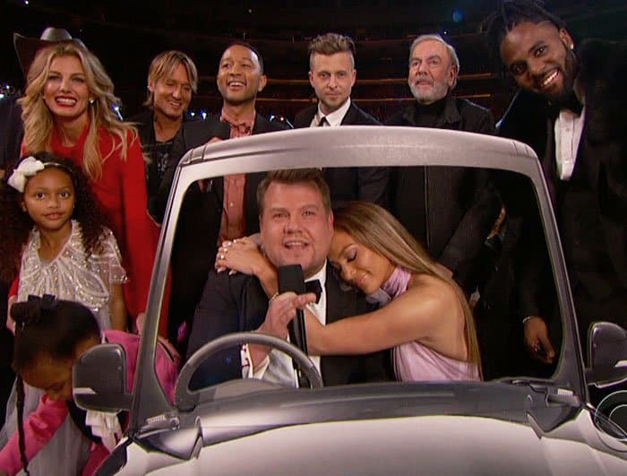 The pop star does a skit with Grammy host James Corden along with a bevy of other celebrities