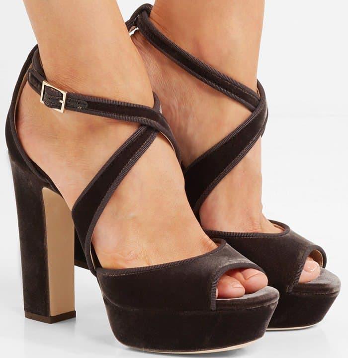 Jimmy Choo April grosgrain-trimmed velvet platform sandals