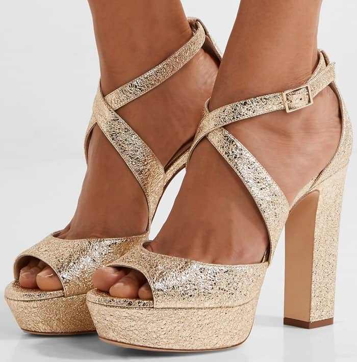 Jimmy Choo April metallic crinkled-leather platform sandals