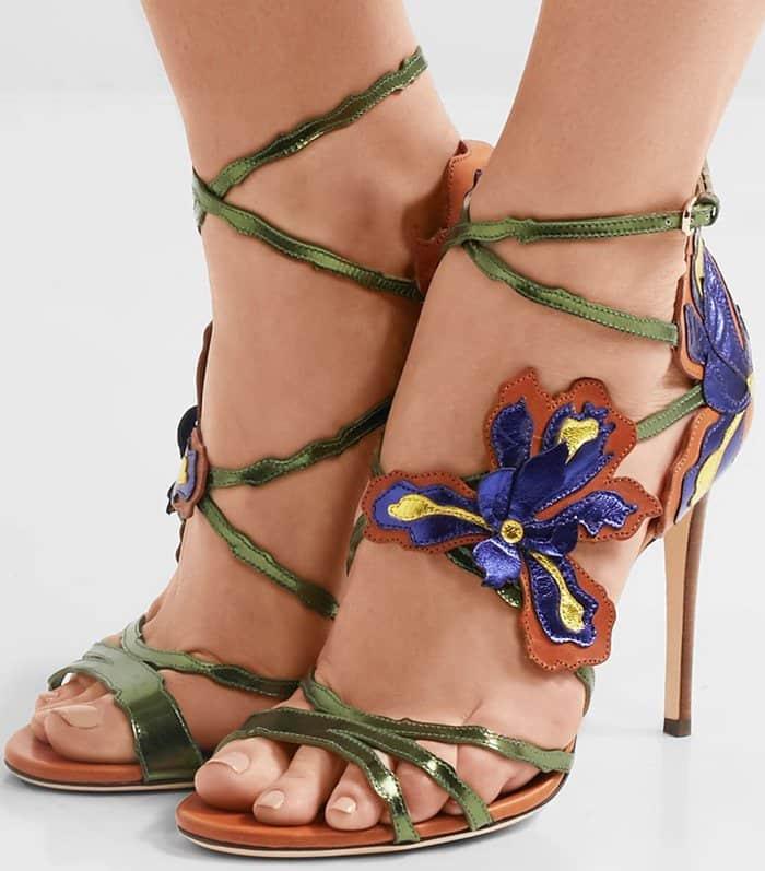 Jimmy Choo 'Lolita' Appliquéd Metallic Leather Sandals