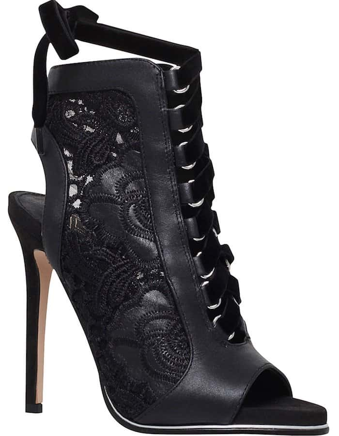 KG Kurt Geiger Harbour Leather and Lace Heeled Sandals