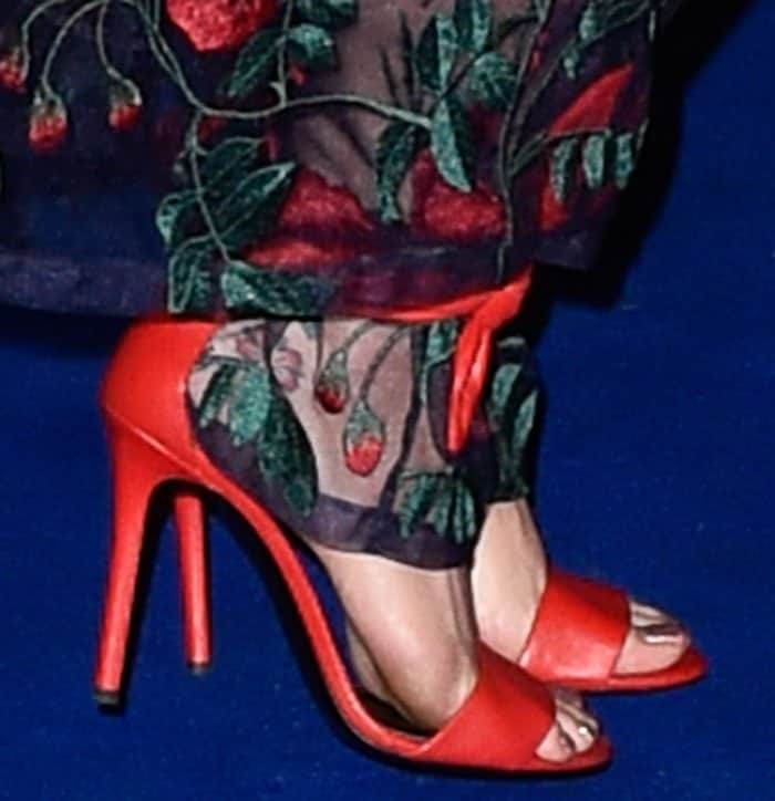 Katy Perry wearing soft red leather 'Carioca' 105 sandals from Stella Luna