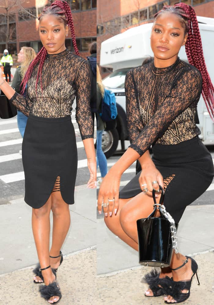 Keke gamely posed for the paparazzi in her Alexander Wang outfit