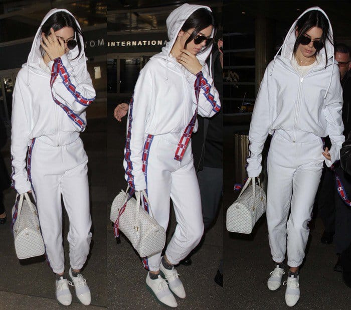 Kendall Jenner strolls through LAX in Balenciaga 'Race Runner' sneakers