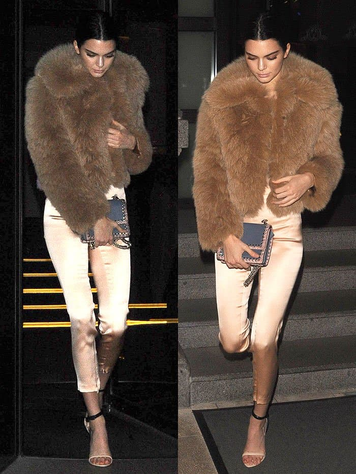 Kendall Jenner in fur jacket and La Perla two-tone sandals