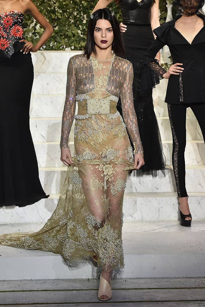 Kendall Jenner in a sheer gown at the La Perla fashion show