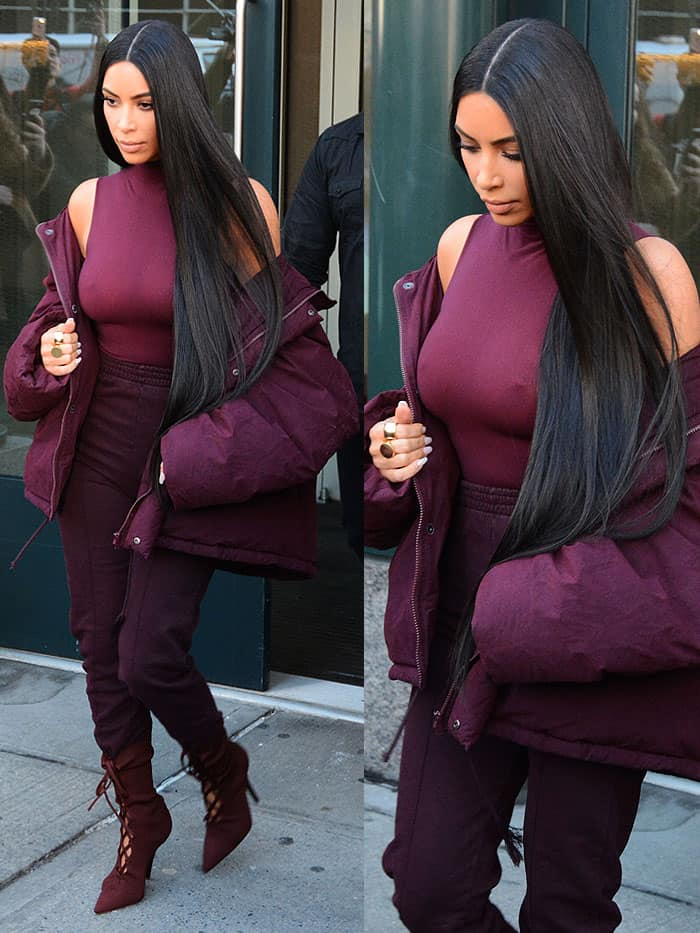 Kim Kardashian founder ditched the bra and showed off her nipples in a sheer high-neck sleeveless top
