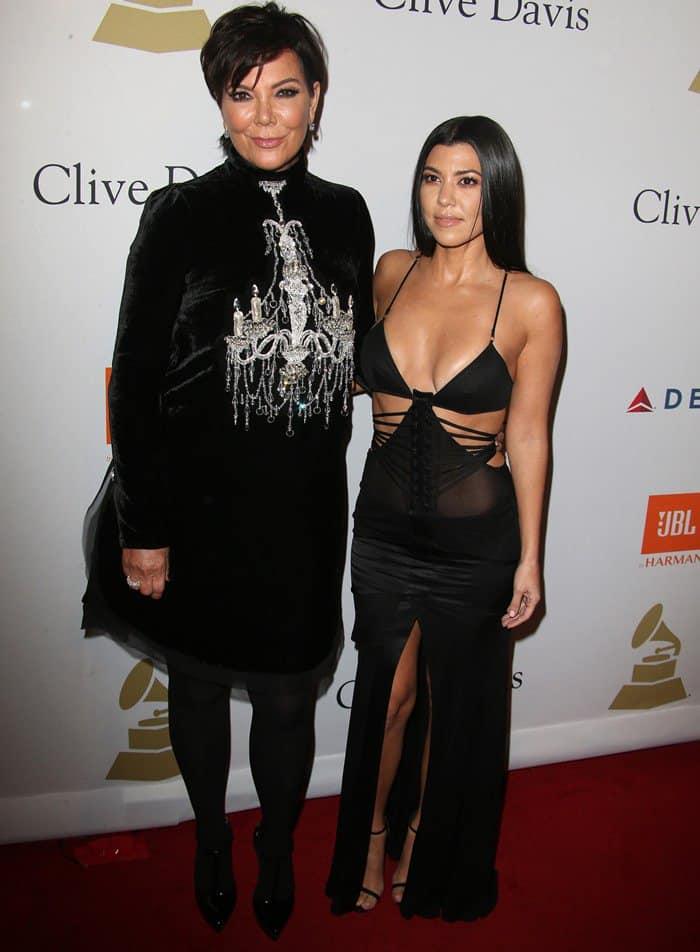 Kourtney Kardashian In Trashy Dress At Clive Davis Pre