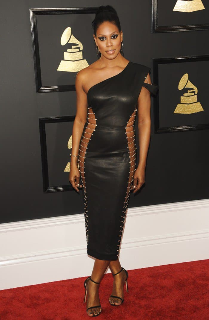 Laverne Cox In Figure Framing Leather Dress And Nudist