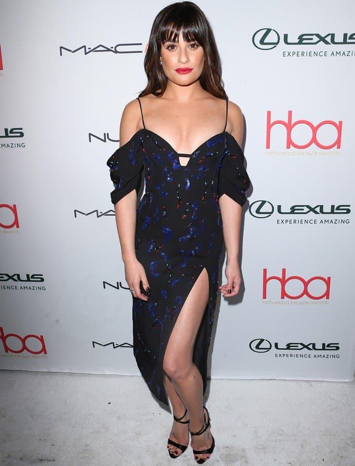 Lea Michele in glittering J. Mendel off-the-shoulder dress
