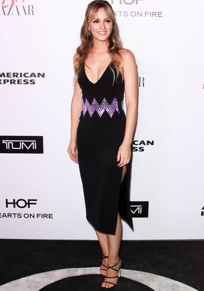 Leighton shows off her curves in a zig-zag patterned dress by David Koma