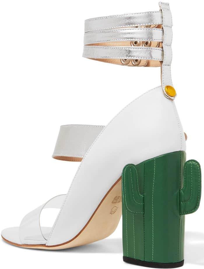 MR by Man Repeller Cactus Heel Perspex-Trimmed Metallic Leather Sandals