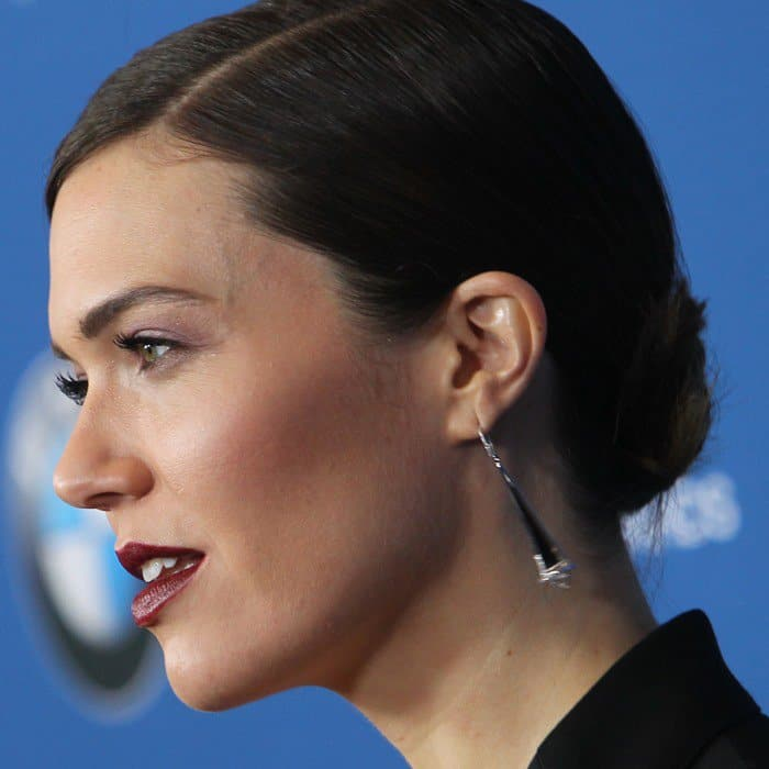 Mandy Moore showing off her statement earrings