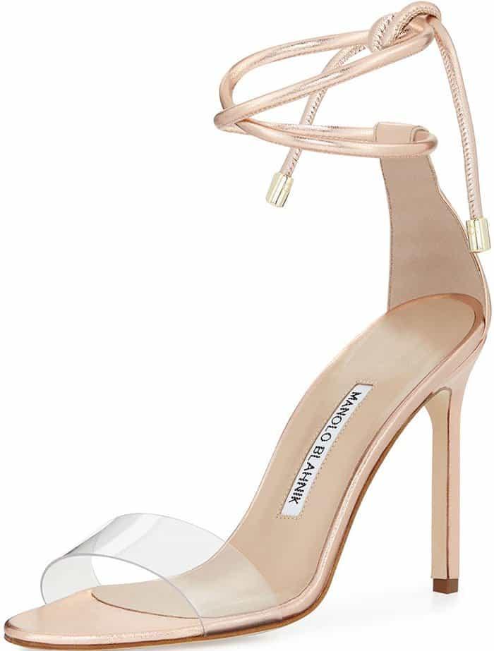 Manolo Blahnik 'Estro' Clear-Strap Ankle-Tie Sandals
